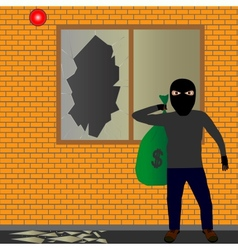 Thief with sack vector image