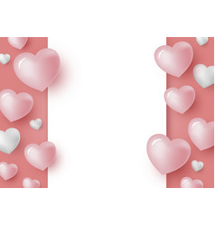 3d hearts and blank white paper vector