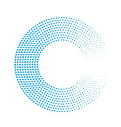 Abstract ring of blue dots halftone effect with vector