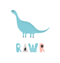 adorable dinosaur and rawr inscription isolated on vector image