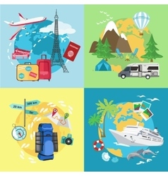 Air tourism Caravaning and camping tourism vector image