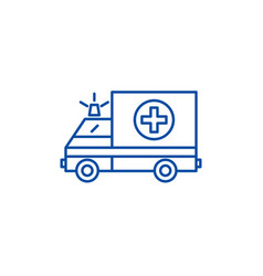 ambulance line icon concept ambulance flat vector image