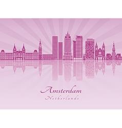 Amsterdam V2 skyline in purple radiant orchid vector