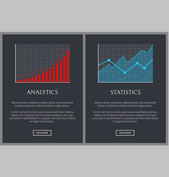 Analytics and statistics graphics on web pages vector