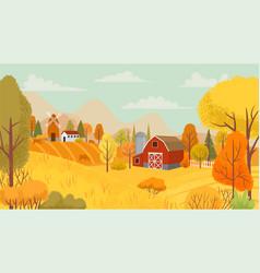 Autumn farming landscape country farm yellow vector