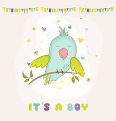Baby shower card parrot boy sitting on brunch vector