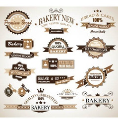 bakery vintage labels vector image