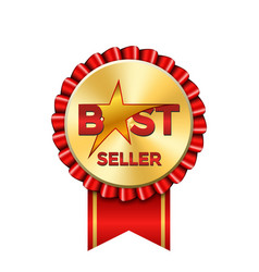 Best seller award ribbon icon gold red badge vector