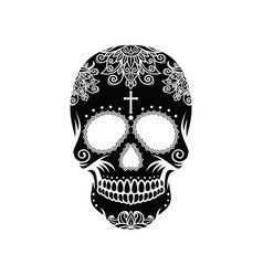 Black skull on white background vector