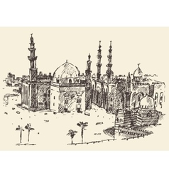 Cairo vintage engraved hand drawn sketch vector