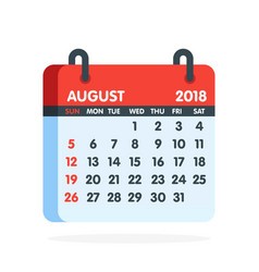 Calendar for 2018 year full month august icon vector