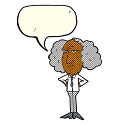 Cartoon big hair lecturer man with speech bubble vector