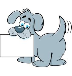 Cartoon dog holding a sign vector