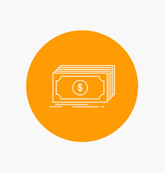 Cash dollar finance funds money white line icon vector