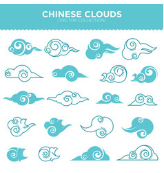 Chinese curly clouds in tender blue colors vector