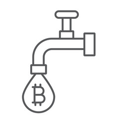 coin faucet thin line icon finance and money vector image