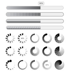collection black-white preloaders vector image