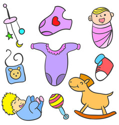 Collection stock of baby toy object vector