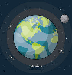 colorful poster of the planet earth in the space vector image