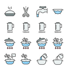 cooking instruction icon filled outline editable vector image