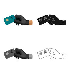 credit card fraud icon in cartoon style isolated vector image