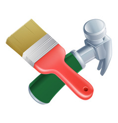 crossed paintbrush and hammer tools vector image