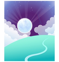 Curved path sunrise vector image