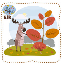 cute cartoon elk on background landscape forest vector image