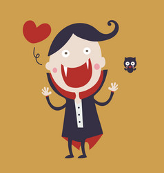 cute dracula cartoon character wearing black and vector image
