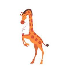 Cute giraffe drinking soda drink with straw funny vector