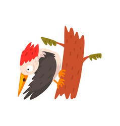 Cute woodpecker sitting on a tree and looking down vector