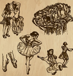 Dancers - hand drawn vector image