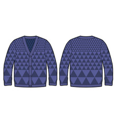 Dark blue knitted cardigan vector