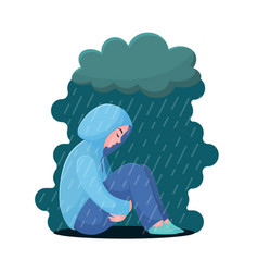 Depression girl in hoodie sitting under rain vector