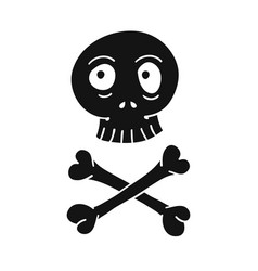 doodle cartoon skull and crossbones pirate sign vector image