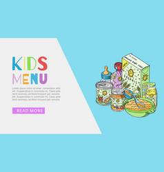 doodle kids menu and bafood web banner vector image