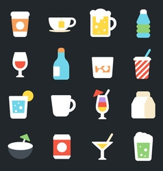 Drinks flat icons vector