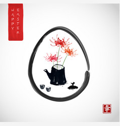easter greeting card in japanese style vector image