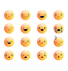 Emoticons round yellow 2 vector