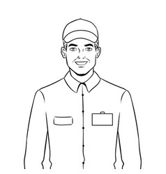 Fast food seller at work coloring book vector