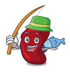 Fishing spleen mascot cartoon style vector