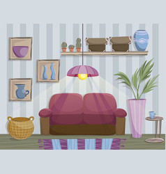 Flat style of living room cozy vector
