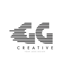 gg g g zebra letter logo design with black and vector image