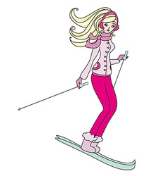 girl skiing vector image