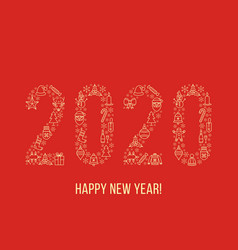 greeting happy new year card with 2020 made vector image