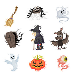 Halloween character set on a vector