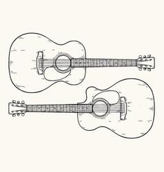 Hand drawn acoustic guitar vector