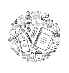 Hand drawn collection with school stationery and vector