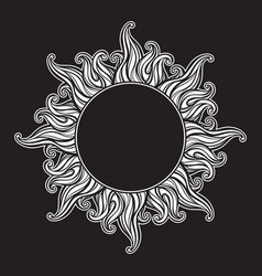 hand drawn etching style frame in a shape of sun vector image