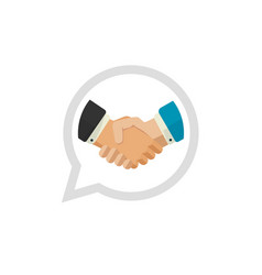 Hand shake logo flat design shaking hands vector